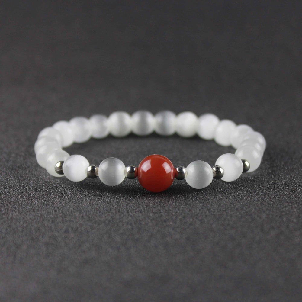 Dropping Shipping White Cat Eye Beaded Bracelet With Red Onyx Bead Natural Stone yoga Bracelet Gift for friends NSB1025 image