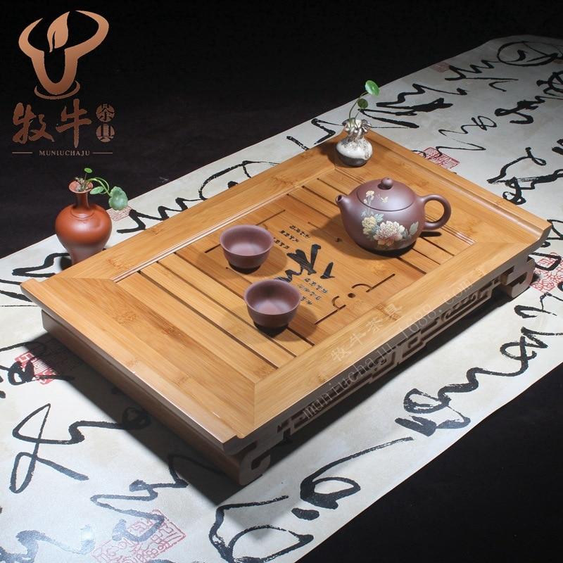 Bamboo tea tray and high-grade 49.5*30*8 Kung Fu tea gift LOGO full custom mixed batch factory direct italics opening film ru ru ceramic dragons kung fu tea logo customized gift boxes