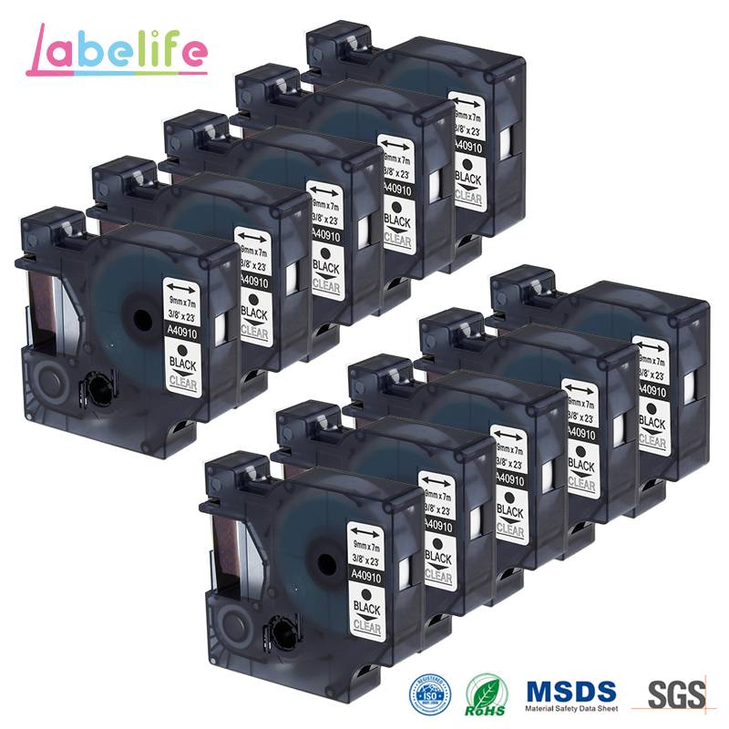 Labelife 10 Pack 9mm 40910 Black on Clear Compatible DYMO Standard D1 for DYMO LabelManager Labeling