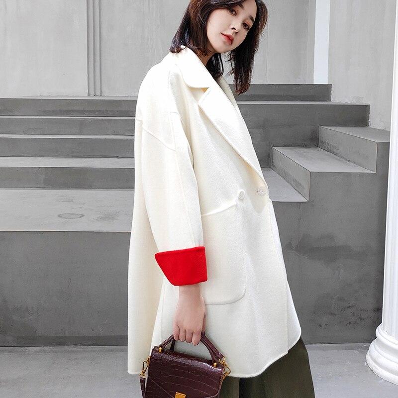 De Femmes Et Cachemire ivoire Coréenne Automne Laine Slim Longue Version Noir Nouvelle face Collège En rose D'hiver La Manteau Double Pour 2018 CqAOBKw