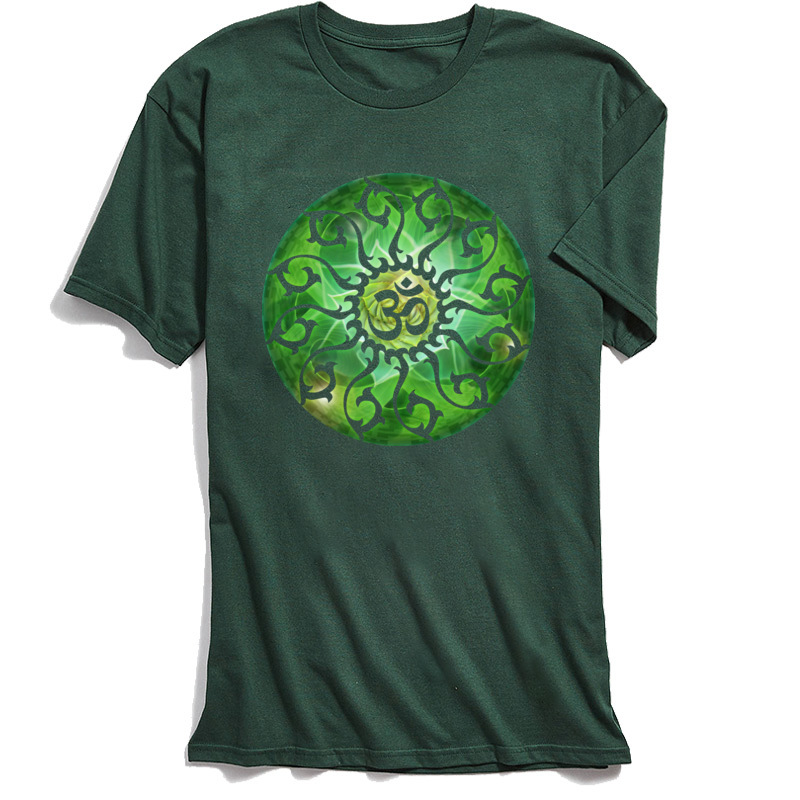 On Sale T Shirt for Men <font><b>Om</b></font> <font><b>TShirt</b></font> Garden Ohm Summer Short Sleeve T-Shirt Thanksgiving Day Clothing 100% Cotton Tops Green image