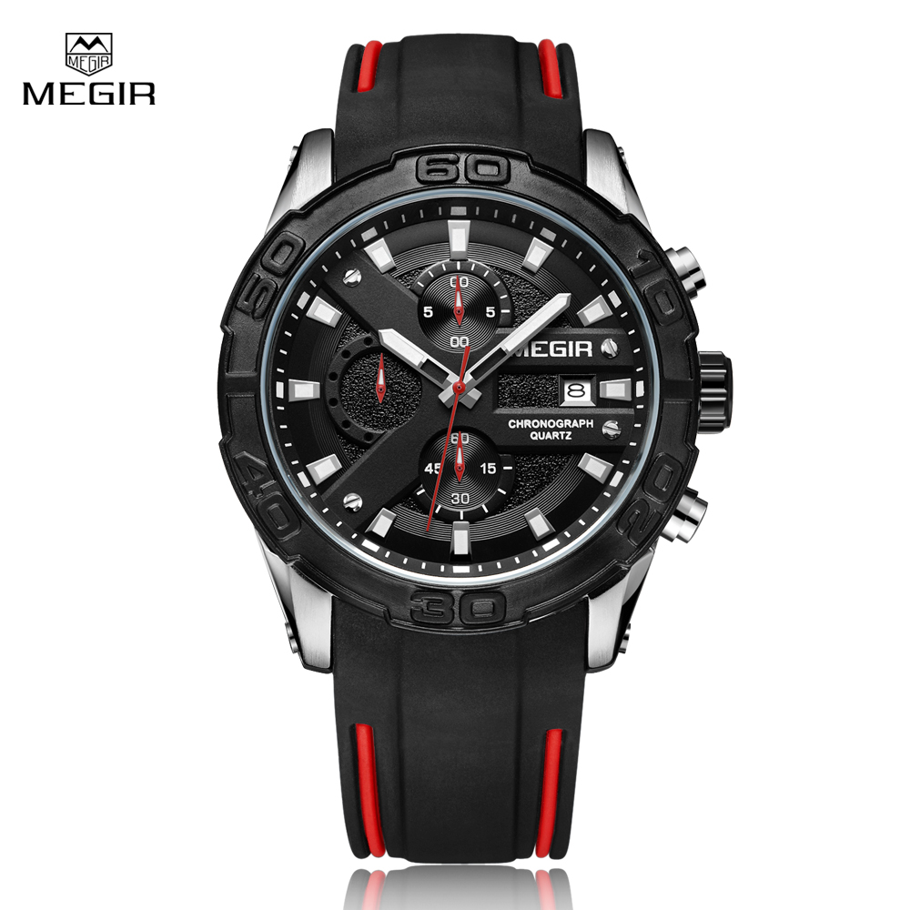 Megir Chronograph Casual Men Watches Luxury Brand Quartz Military Sport Watch Black Silicone Strap Men's Wristwatch Male Clock jedir brand luxury watches men army military silicone watch male casual sport relogio waterproof chronograph quartz wristwatch