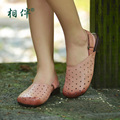 Female shoes brief breathable comfortable cutout personality genuine leather low-heeled casual sandals
