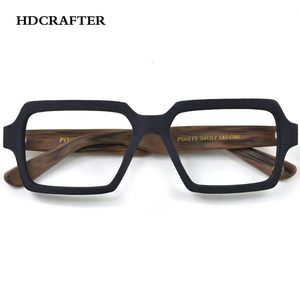 Image 3 - HDCRAFTER Vintage/Retro Eyeglasses frames Wood Women Men Oversized Prescription Optical Frames Glasses Spectacles Eyewear