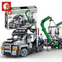 SENBO Technic 703940 1202PCS the mack big truck set building blocks compatible legoINGs city 42078 car bricks toys for children