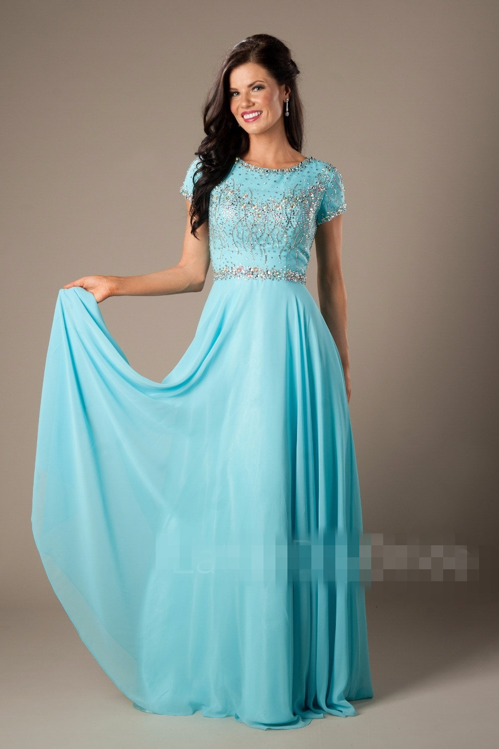 2017 Coral Blue Beaded Chiffon Modest Prom Dresses With Short ...