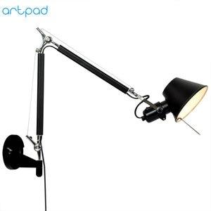 Image 2 - Artpad אמריקאי מודרני נדנדה ארוך זרוע LED גמיש קיר אורות AC90 260V כסף/שחור עין הגנת שינה קיר ליד מיטת מנורה