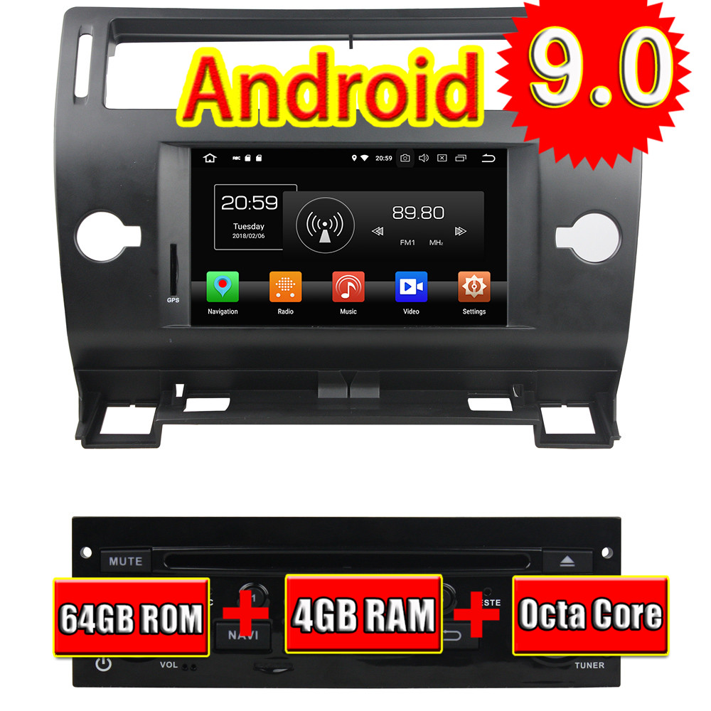 TOPNAVI Android 9.0 Auto <font><b>GPS</b></font> Navigation Für <font><b>Citroen</b></font> <font><b>C4</b></font> <font><b>2005</b></font> 2006 2007 2008 2009 2010 2011 Auto <font><b>DVD</b></font> Multimedia Radio Stereo 2 DIN image