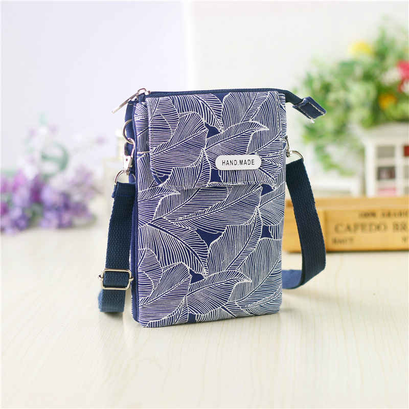 Lavender Leaves Pattern Canvas Change Coin Purse Retro Wallet Bag With Zip