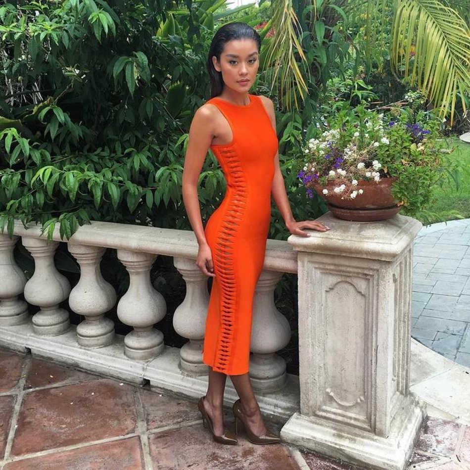 Новинка осени 2019, женские сексуальные вечерние бандажные платья, подиумное оранжевое платье с круглым вырезом, с вырезами по бокам, Клубное рождественское платье Vestidos