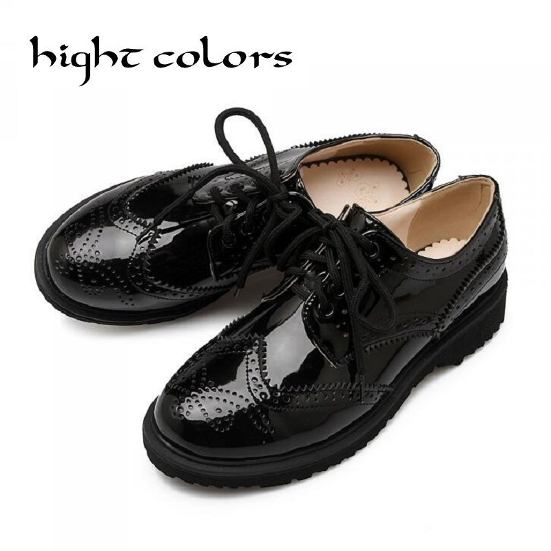 British Style Oxford Shoes For Women Patent Leather Round Toe Flat Shoes Woman Carving Vintage Flats Brogues Oxfords Women