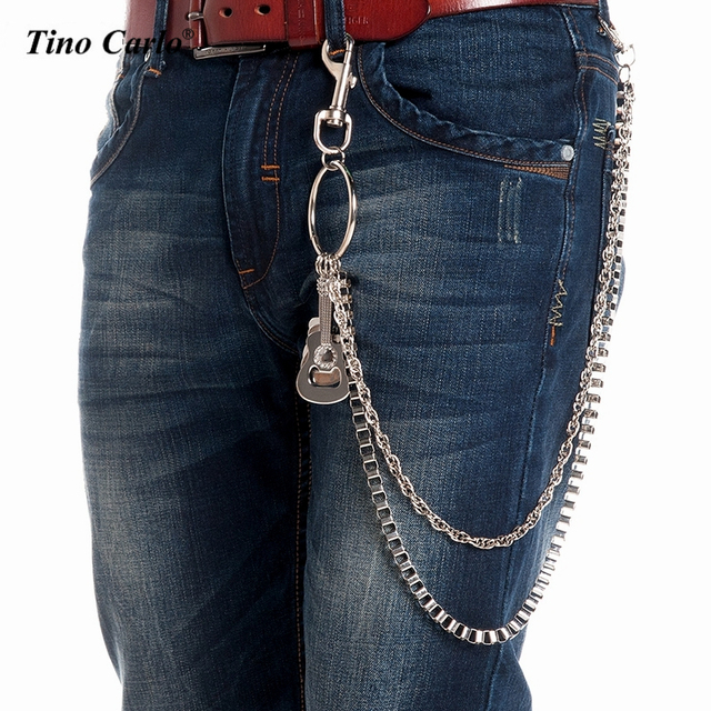 """2 Strand Men Heavy Silver Metal 31"""" Long Box Wallet Chains Key Chain Strong Big Spike Rock 3pcs Guitar Decorate Jeans Chain KB50"""