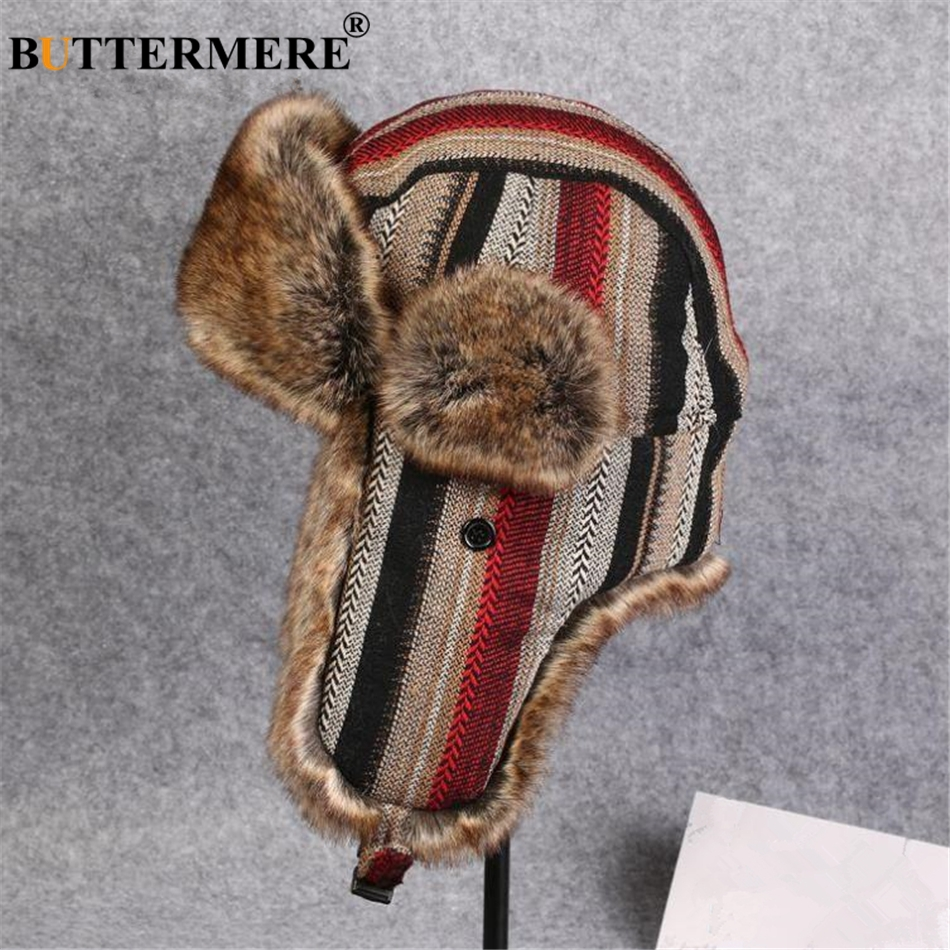 BUTTERMERE Winter Hat Women Men Bomber Hats Striped Fur Russian Soviet Ushanka Hat Ear Flaps Warm Windproof Thick Pilot Cap