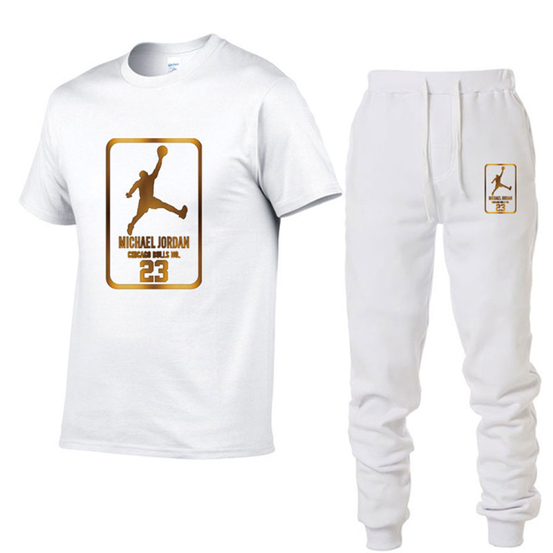 2019 Summer Hot Sale Men's Sets T Shirts+pants Two Pieces Sets Casual Tracksuit Male Tshirt Gyms Fitness trouser