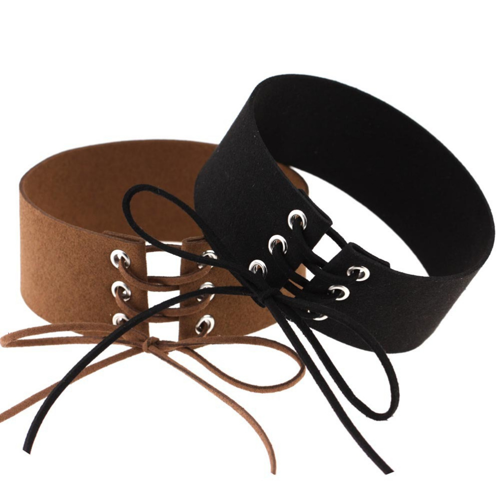 Belt Choker Necklaces Tied Brown color Chocker Anime collares collier ras du cou 2016 Harajuku Wide Black Velvet Choker Necklace
