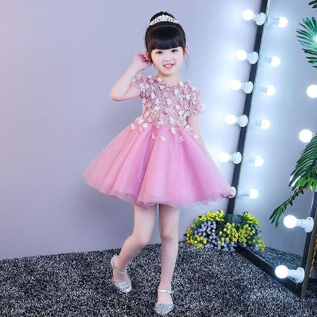 Cute Pink tulle verano Niñas desfile Vestidos elegante Primera ...