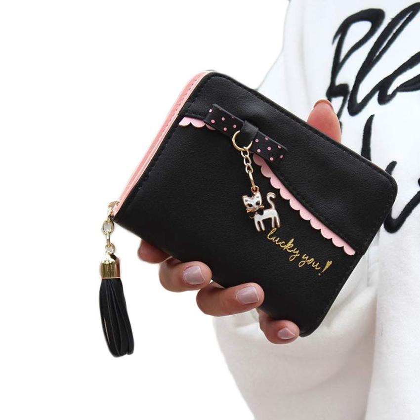 2016 Carteras Mujer Women Wallets Lady Fashion Cat Pendant Mini Grind Magic Bifold Leather Wallet Women's Card Holder Purse