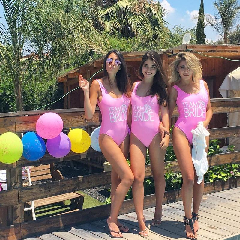 TEAM BRIDE Print One Piece Swimsuit Sexy Thong Swimwear Women High Cut Pink Bathing Suit Backless Black Beach Monokini Bodysuit