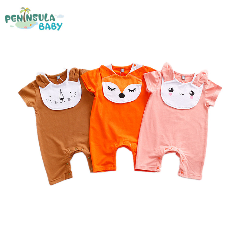 Newborn Summer Short Sleeve Baby Boy Girl Jumpsuits Animal Cartoon Fox Lion Baby Rompers Clothes For Babies Girl Clothing 3pcs set newborn infant baby boy girl clothes 2017 summer short sleeve leopard floral romper bodysuit headband shoes outfits