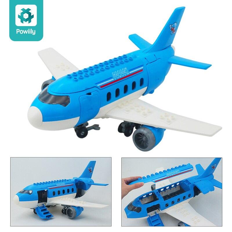 Grand bloc de construction duplos brique avion aéroport pilote plaine avion Compatible avec duploes jouet éducatif pour enfants cadeau