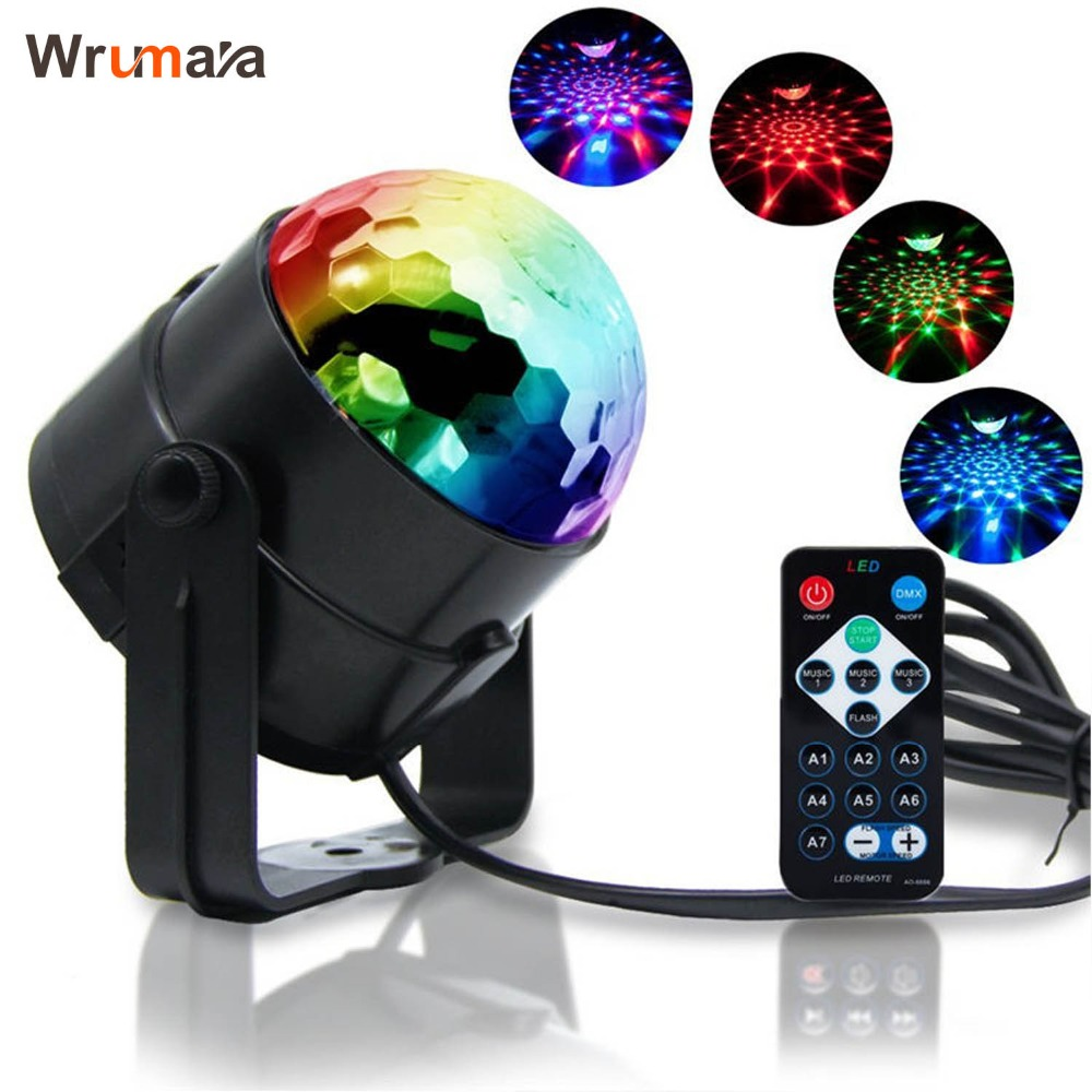 цена на Wrumava RGB Stage Lighting Effect Crystal Magic Ball Bulb LED Stage Light Disco Club DJ Party Laser Light Sound Control DMX Show