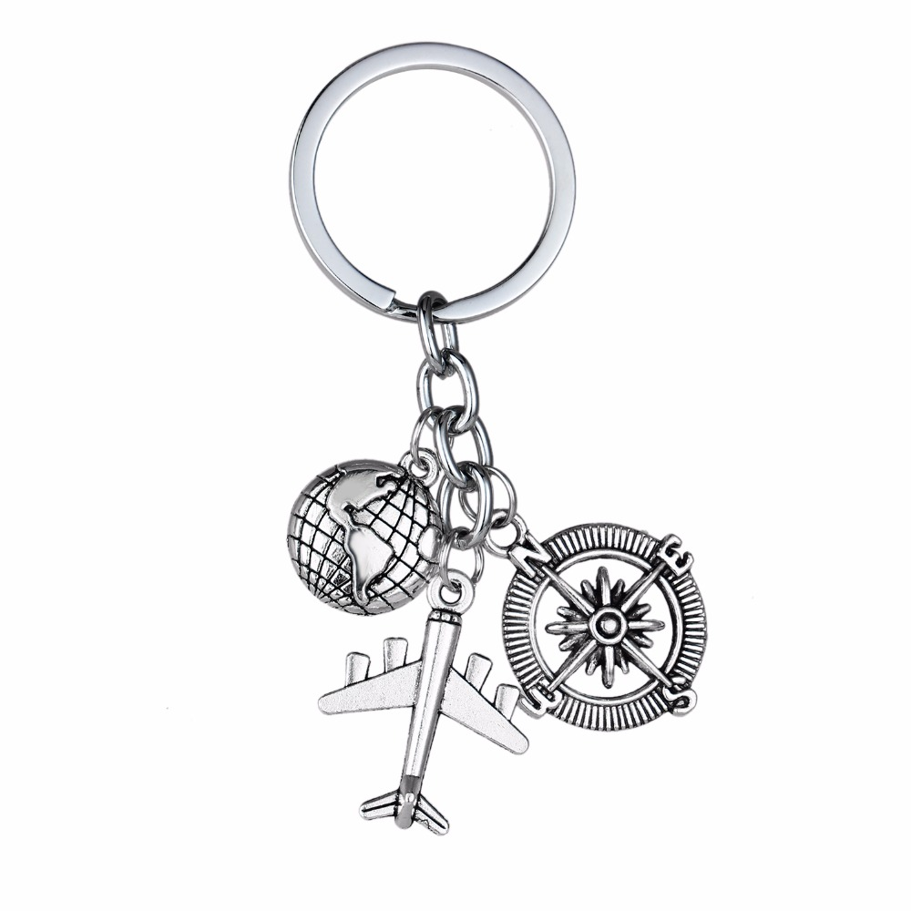 12PC/Lot Globe Earth Airplane Compass Charms Keychains Love Travel Keyring Gifts For Wanderlust Travelers Key Chain Ring Holder