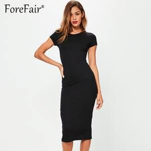 2268f16cceb3a Forefair T Shirt Dress Women 2018 Summer Casual Basic Dress Ladies Short  Sleeve O Neck Classic Slim Midi Bodycon Party Dresses
