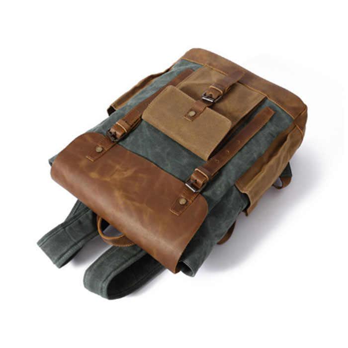 2018 Новая мода Повседневное холст Для мужчин рюкзак ретро Винтаж Male школьников сумки человек сумки на плечо Mochila Masculina хаки