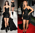 Negro Beyonce Vestido Trasero Largo Delantero Corto 2015 Runway Las Mujeres se Visten de Alta Calidad Vestidos para Fiesta Vestido de La Celebridad Atractiva KB265