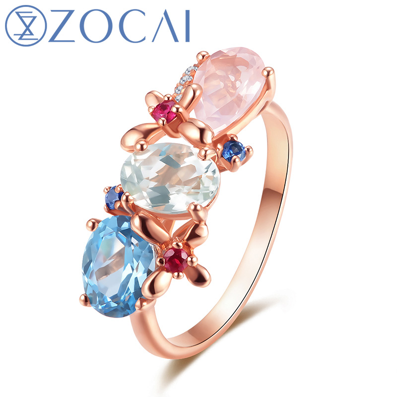 ZOCAI Style Ring 2.0 CT ColoredTopaz Women Ring with 0.15 Ct Diamond in 18K Rose Gold (Au750) W06341 цены