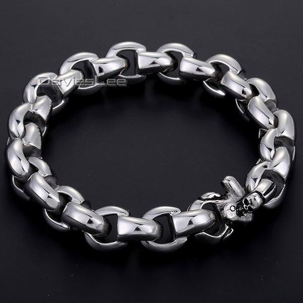 Fashion Gift 12mm Heavy Silver Tone Interlock Rolo Link Mens Chain Boys 316l Stainless Steel Bracelet Jewelry Promotion Dlhb119 In Bracelets