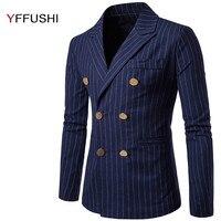 YFFUSHI 2018 New Arrival Men Suit Jacket Fashion Design Double Breasted Jacket Masculino Coats England Casual Slim Fit