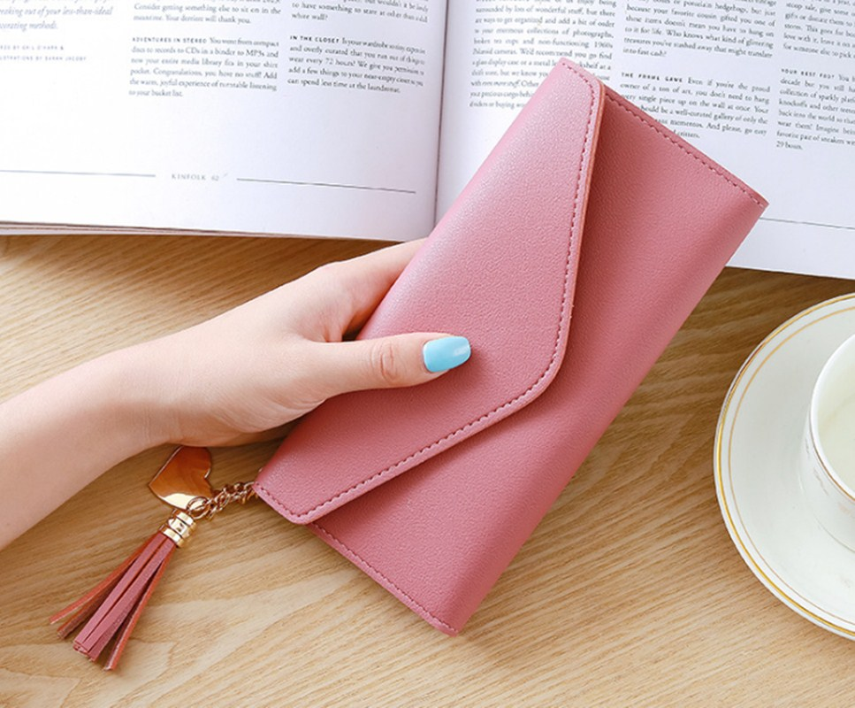 5× Women Wallets  Purses Heart Pendant Long Wallets For Ladies Girl Money  Pocket Card Holder Female Wallets Phone Clutch Bag