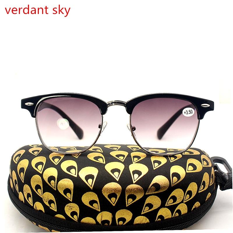 Lunettes de lecture De Mode En Métal Demi-Trame Lecteurs Rétro Ronde Cadre Hommes et Femmes Eyewears Comprennent lunettes de Soleil lecteurs Lunettes de Soleil