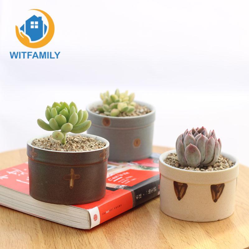 Ensemble de 6 Pots de fleurs en céramique émaillée Transmutation japonaise Pots de plantes succulentes