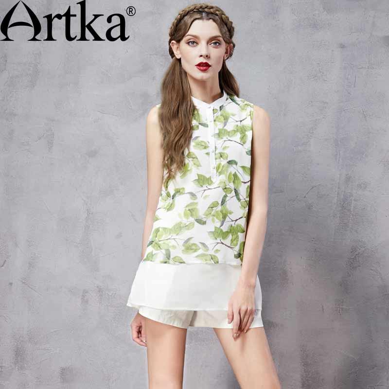 ARTKA femmes été nouveau Patchwork imprimé mousseline de soie chemise mode col montant sans manches all-match Twin-set chemise SA11560C