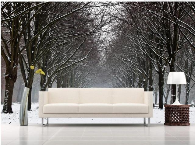 GroBartig 3d Landschaft Tapete Winter Schnee Landschaft TV Hintergrund Wohnzimmer  Moderne Tapete Dekoration