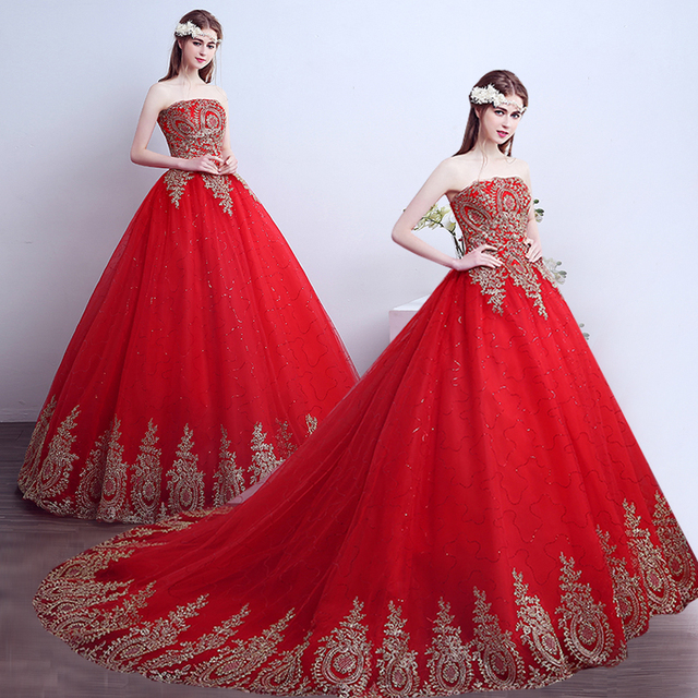 Non Traditional Red Wedding Dresses: 2016 Red Gold Vintage Appliques Ball Gown Wedding Dresses