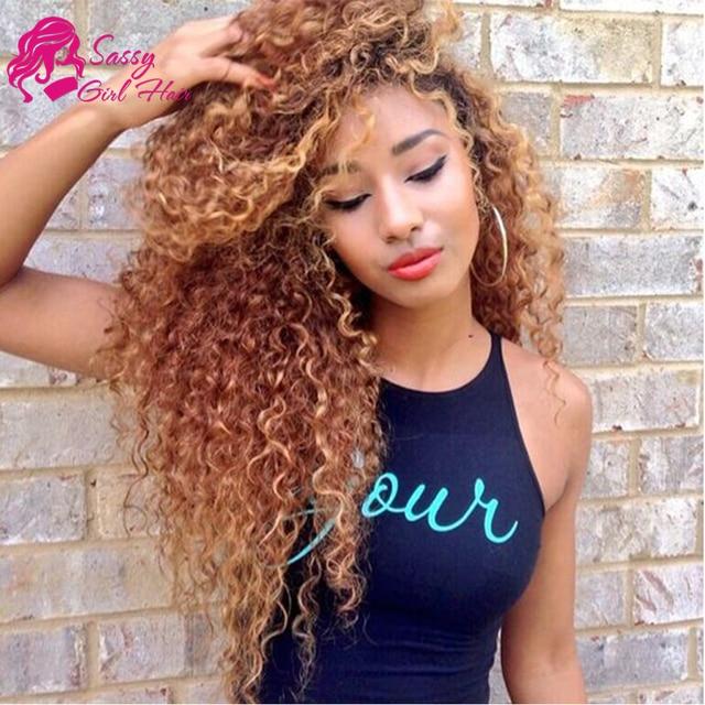 Sassy girl 3 offerte di bundle capelli ricci di colore biondo miele fasci  Crochet Capelli Umani 04d2a651aa98