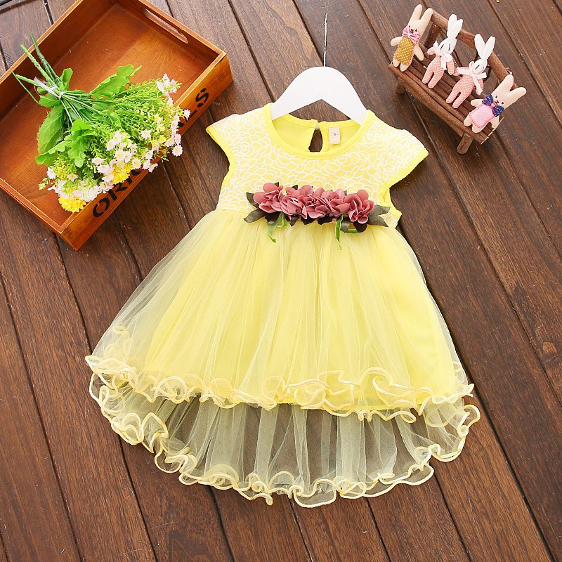 Cute Baby Girls Summer Floral Dress Princess Party Tulle Flower Dresses Toddler Infant Girls Mesh Tutu Dress 0-3Y Clothing 3