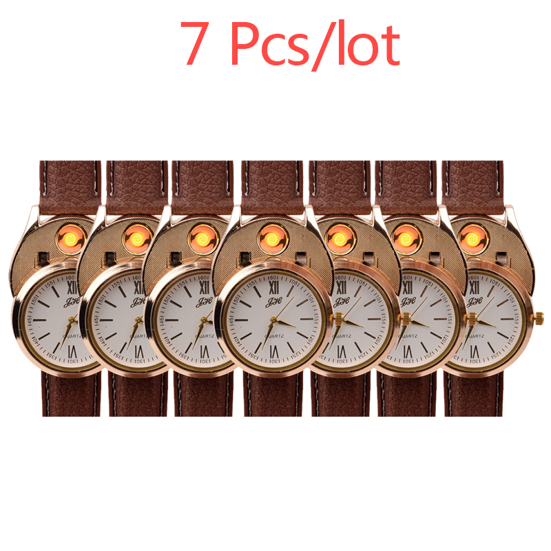 7Pcs lot Men s Wristwatches relogio masculino USB Rechargeable Flameless Cigarette Lighter Rubber Watchband Quartz Watches