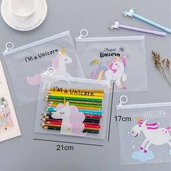 Sac de rangement en PVC Transparent, mignon animaux roses licorne trousse à crayons Bts dessin animé maquillage organiser fournitures de bureau à domicile
