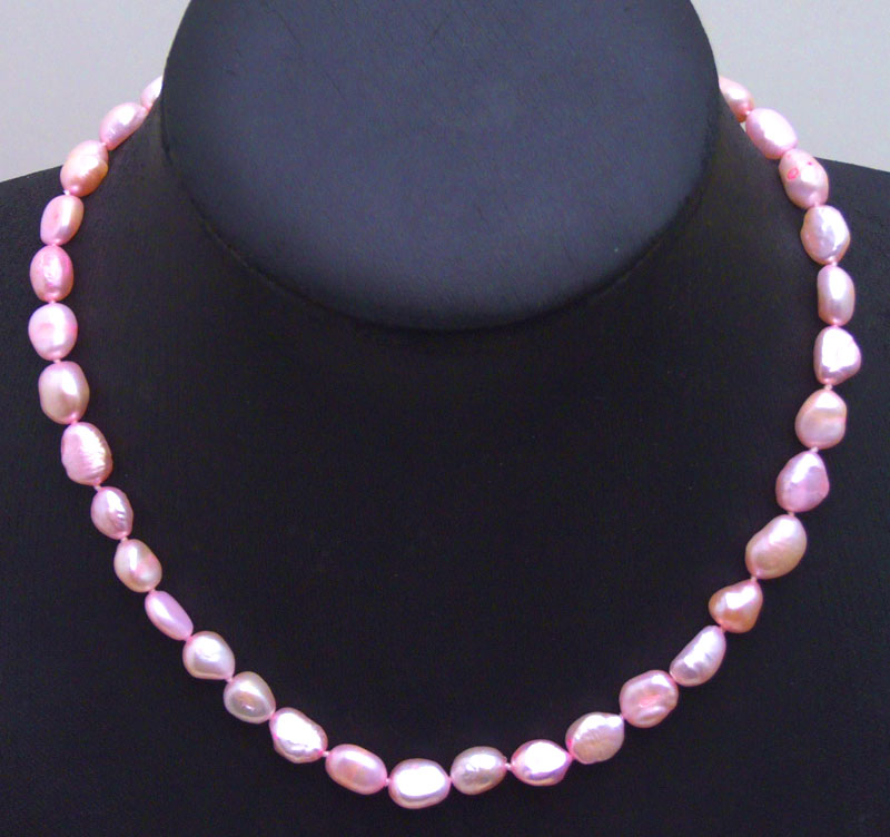 Big 7-9mm Bright Pink BAROQUE Natural Freshwater PEARL 17 Necklace-nec5893 Wholesale/retail Free shipping