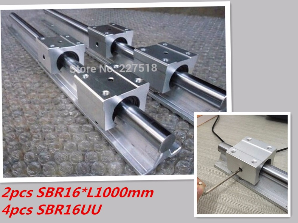 2 pièces rail linéaire SBR16 L1000mm + 4 pièces SBR16UU linéaire de roulement pour CNC pièces 16mm guidage linéaire