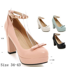 Women Pumps Platform High Heels T-Strap Ladies High Heel Shoes Woman Party Wedding Shoes Kitten Heels Plus Size 34-40.41.42.43