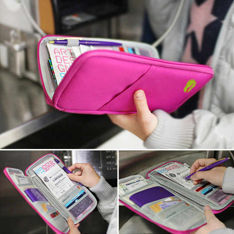 Travel Wallet Passport Credit Card Organizer Cash Holder Document Bag Multifunction Purse Travel Wallet Pack Clutch Mujer
