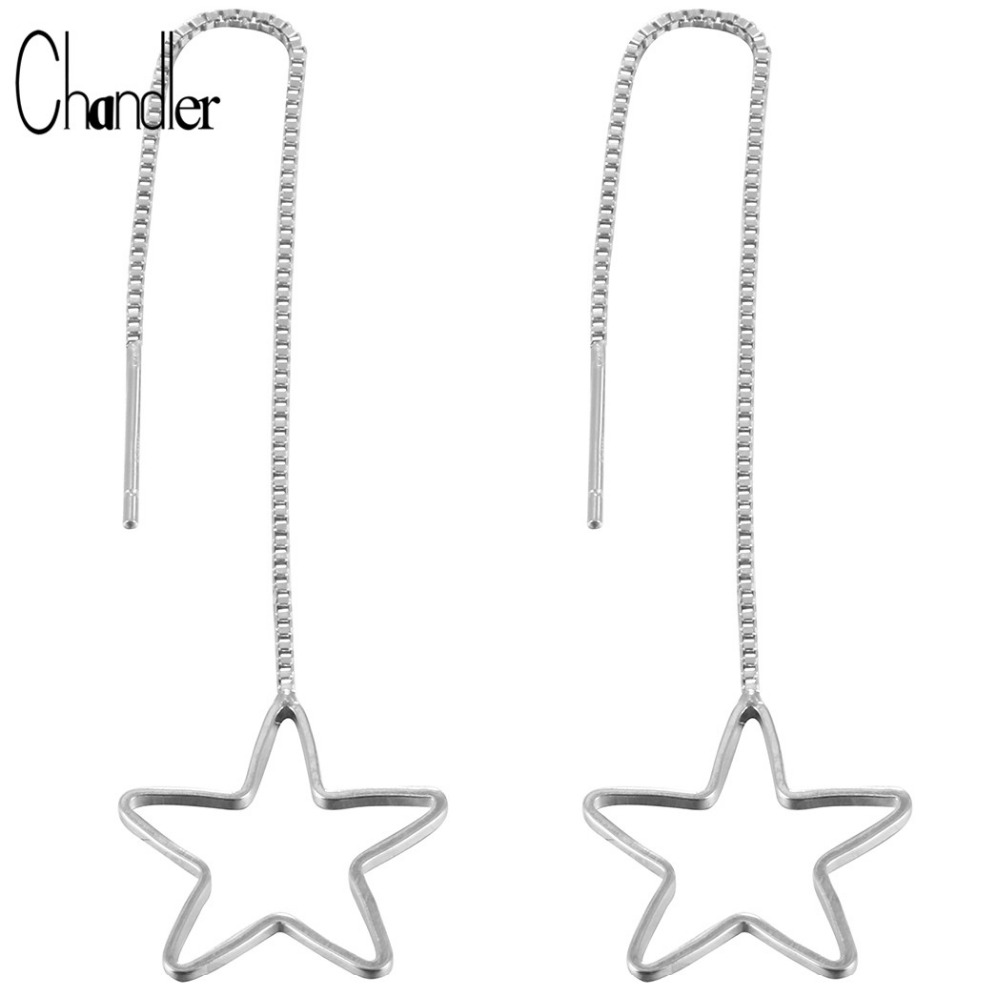 925 Sterling Silver OL Style Long Chain Earring For Women Round Triangle Square Circle Love Geometrical Dangle Accessary Gifts