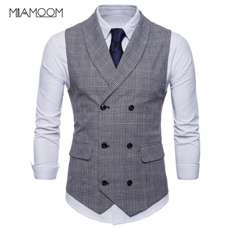 Mens Suit Vest Double Button Smart Casual Waistcoat New Men Leisure High Quality Plaid Waistcoat Mens Suit Vest