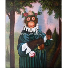 High Quality Hand Painted Oil Painting on canvas Monkey Holding Flowers 20x24in no framed