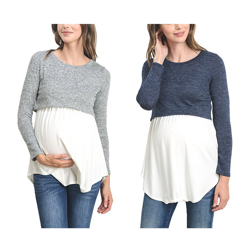 2019 New Women Mother Breastfeeding Nursing Top Patchwork Long Sleeves Top Shirt Blouse Clothes S-2XL
